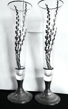 "2 Newport 10.5"" Sterling Base & Overlay Trumpet Vases Pussy Willow Design"