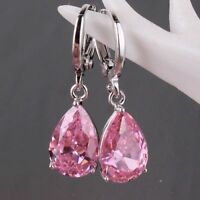 Pink Sapphire Crystal 925 Silver Women Drop Dangle Teardrop CZ Earrings Jewelry