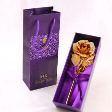 "Valentine's Day Genuine 24K Gold Dipped Long Stem Rose 10"" Flower Gift Box 2018"