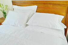 Queen Bed Fitted Sheet 1000TC/10cm2 Pure Cotton Plain White
