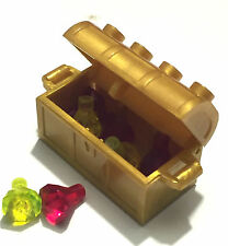 *NEW* Lego Minifig Treasure Chest PEARL GOLD w 7 TRANS RED & NEON ORANGE Jewels