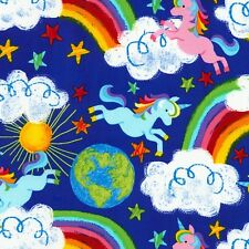 Fabric Baby Rainbows Unicorns Earth Clouds on Royal Blue Cotton by the 1/4 yard