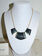 New $295 Alexis Bittar Lucite Statement BIB Necklace Black w Emerald cabochons
