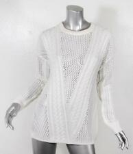 PAIGE Womens White Open Cable Knit Long Sleeve Crewneck Sweater L NEW