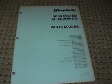 Simplicity System 5000 Attachments Parts Manual