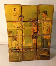 VINTAGE BUILDING BLOCKS WITH SEVERAL 1950'S LAMINATED PICTURES - 12 BLOCKS