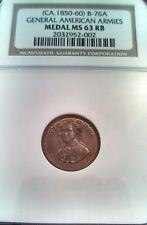 (1850-60) B-76A General American Armies by C C Wright NGC MS 63 RB copper