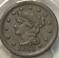 1851 PCGS AU55 Braided Hair Large Cent 1c ~ Solid About Uncirculated Early Penny