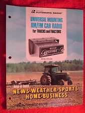 VINTAGE AUTOMATIC MODEL UFR-2229 TRUCK & TRACTOR CAB RADIO BROCHURE