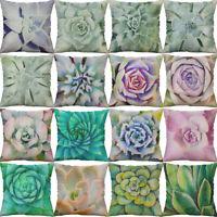 "18"" Succulent Print Cushion Case Cotton Linen Cushion Cover Sofa Home Decor"