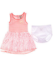 JUICY COUTURE Gorgeous Pink Striped Floral Ruffled Skirt Baby Dress Size 24 M
