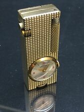 VINTAGE RARE GOLD PLATED FILLED PENGUIN CYGNUS LIGHTER w/ WATCH OXFORD TIME LITE