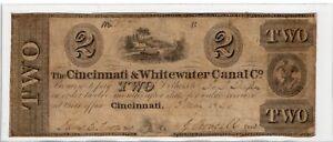 1840 - $2 The Cincinnati & Whitewater Canal Co. Obsolete Note - Cincinnati Ohio