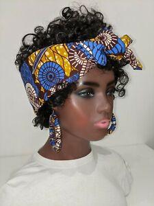 Hand made African print Cotton Wax Head Band Hair Wrap Scarf 007