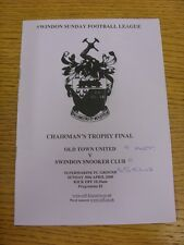 30/04/2000 Swindon League Chairmans Trophy Final: Old Town United v Swindon Snoo