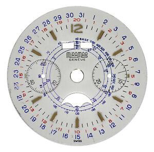 NOS Vint. Landeron Cal 186 Moonphase Chrono Chronograph Wristwatch Dial MIRAMAR