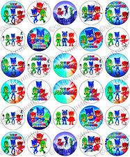 30 x PJ Masks Parti COMESTIBLES RIZ TRANCHE PAPIER Cupcake Toppers