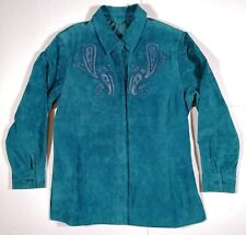 Beth Terrell Womens Coat Washable Suede Leather Teal Decorative New with Tags