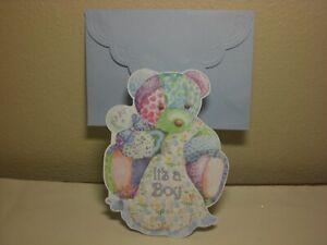Carol's Rose Garden -  New Baby Boy - A Blue Teddy Bear on front
