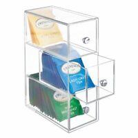mDesign Plastic Kitchen Storage Tea Organizer, Flips, 3 Drawers - Clear