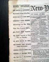 Great BATTLE OF GETTYSBURG Yankees Victory 1863 Civil War Newspaper HISTORIC !!