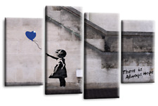 BANKSY Art Picture Blue Balloon Girl Wall Abstract Canvas Print Hope Love Split