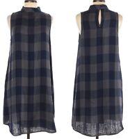 NWOT CLOTH & STONE Plaid Swing Dress navy blue and gray mock neck A-line Sz. M