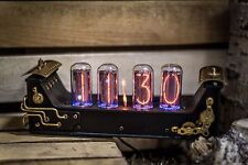 IN-18 Nixie Clock with 4 tubes Handmade Leather Steampunk (Z568M Z566M type) #34