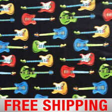 "Fleece Fabric Guitar Music Musical 60"" Wide Free Shipping Style PT 1019"