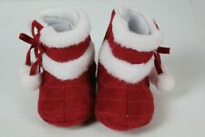 Stepping Stones Infant Girl Boots Red Suede White Faux Fur Infant Size 3-6 Month