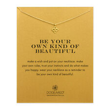 "Dogeared Be Your Own Kind Of Beautiful Open Clover Gold Dipped 16"" Box Necklace"