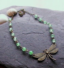 Vintage Inspired Antique Bronze Dragonfly Necklace Apple Green Glass Beads