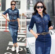 Womens Fashion Casual Washed Jean Skirt Long Sleeve Denim Dress+Belt