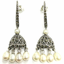 ART DECO INSPIRED PEARL & MARCASITE DROP EARRINGS 925 STERLING SILVER