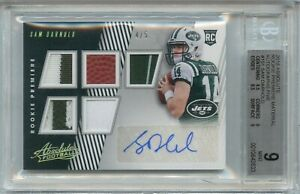 2018 Absolute Sam Darnold RC Premiere Material Five Patch Auto 4/5 #151 BGS 9/10