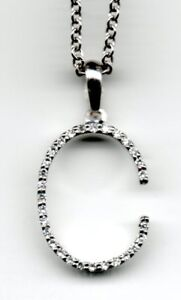 REAL 18ct white gold diamond initial pendants trace & chain A to Z  B C D R S