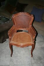 Antique French Carved Walnut Vanity Chair Double Cane France Circa 1820