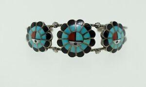 Zuni Burdian Soseech Sterling Turquoise Onyx Coral Inlay Sunface Cuff Bracelet