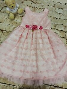 Girls Sweet Heart Rose Pink Special Occasion Floral Net Party Dress Age 4 Years