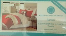 Martha Stewart Gallery Tile Flannel Twin Size Duvet Cover Red Cotton Flannel