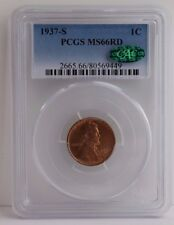 1937-S Lincoln Cent Graded MS 66 Red by PCGS, CAC