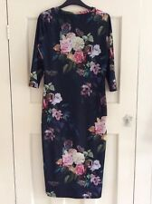 Topshop Navy Blue Floral and Butterfly Bodycon Dress, UK Size 10 Immaculate