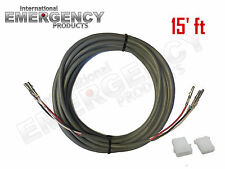 15' ft Strobe Cable 3 Wire Power Supply Shielded for Whelen Federal Signal Code3