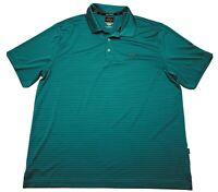 Greg Norman Gold Shirt Mens XL Short Sleeve Striped Green Play Dry Tasso Elba