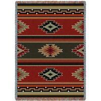 70x54 KAIBOB Southwest Red Green Geometric Tapestry Afghan Throw Blanket