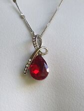 """Pendant necklace 18K White Gold Plate Wiht Crystal Elements Ruby 18"""" Chain"""