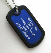 PERSONALIZED Dog Tag Necklace VERTICAL Wording BLUE with BLACK Silencer