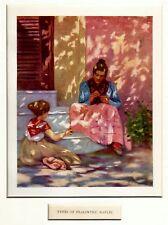 Napoli: Donna che cuce sui gradini di casa. Stampa Antica + Passepartout. 1904