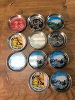 Vintage Lot Of Coasters Assorted Metal Tin Souvenir Tourist Gift Shop B7