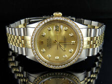 Rolex Datejust 2 Tone 36MM 18K Stainless Steel Custom Dial Diamond Watch 2.0 Ct